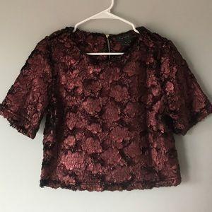 Gracia textured velvet crop top burgundy metallic